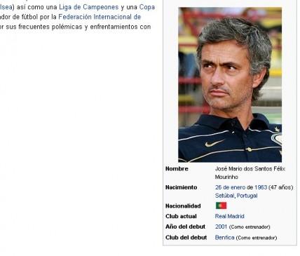 موقع ويكيبيديا ويجعل مورينهومدربا لريال مدريد