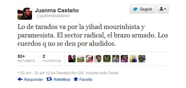 Comentario de Juanma Castaño en Twitter Tweet_juanma_castano_cuatro_tarados