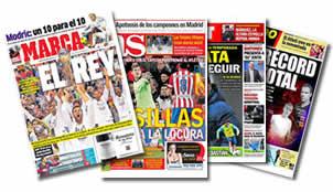 Portadas de los peri�dicos Marca, As, Sport y M. Deportivo