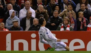 Cristiano Ronaldo marc� en Anfield