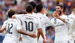 Real Madrid celebrando un gol en el estadio de Riazor