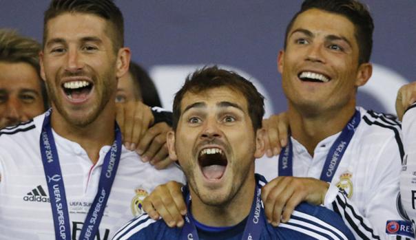 Sergio Ramos, Iker Casillas y Cristiano Ronaldo