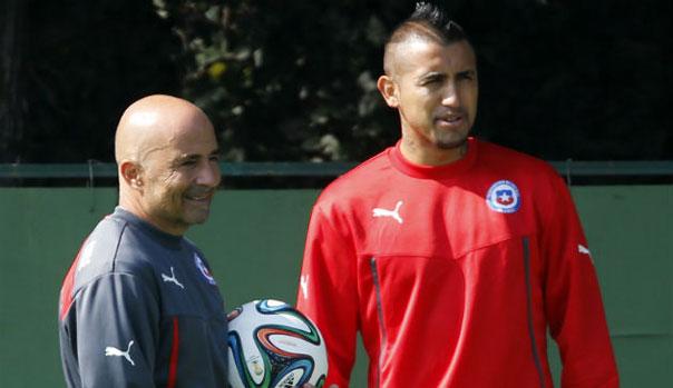 Jorge Sampaoli y Arturo Vidal