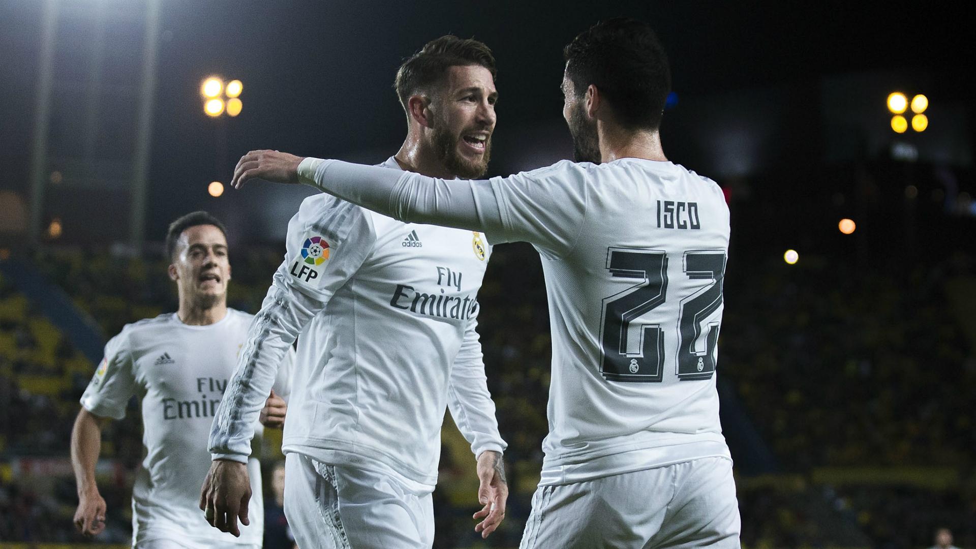 Ramos e Isco festejan un gol del Real Madrid.