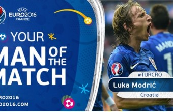 Luka Modrich Turkiyaga qarshi o'yinning eng yaxshi futbolchisi deb topildi
