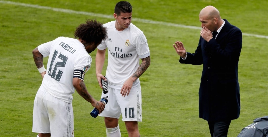 Zidane con James y Marcelo