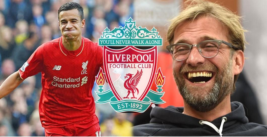 Montaje Coutinho y Klopp riendo, escudo Liverpool