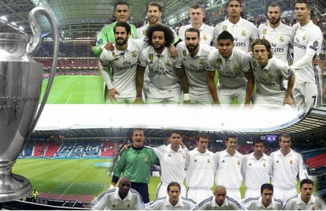 Montaje once del Real Madrid y once de La Novena