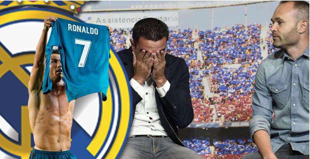Montaje de Cristiano Ronaldo con Xavi e Iniesta llorando