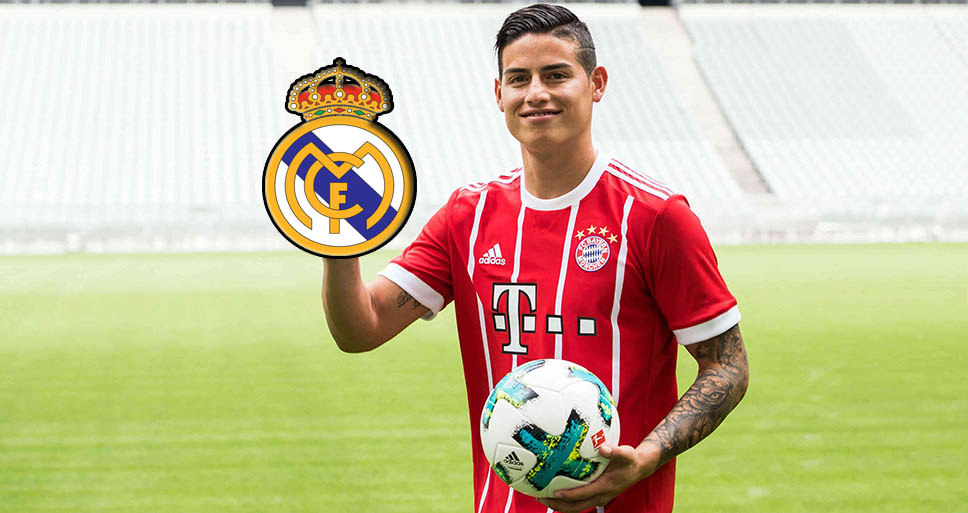 James con el escudo del Real Madrid