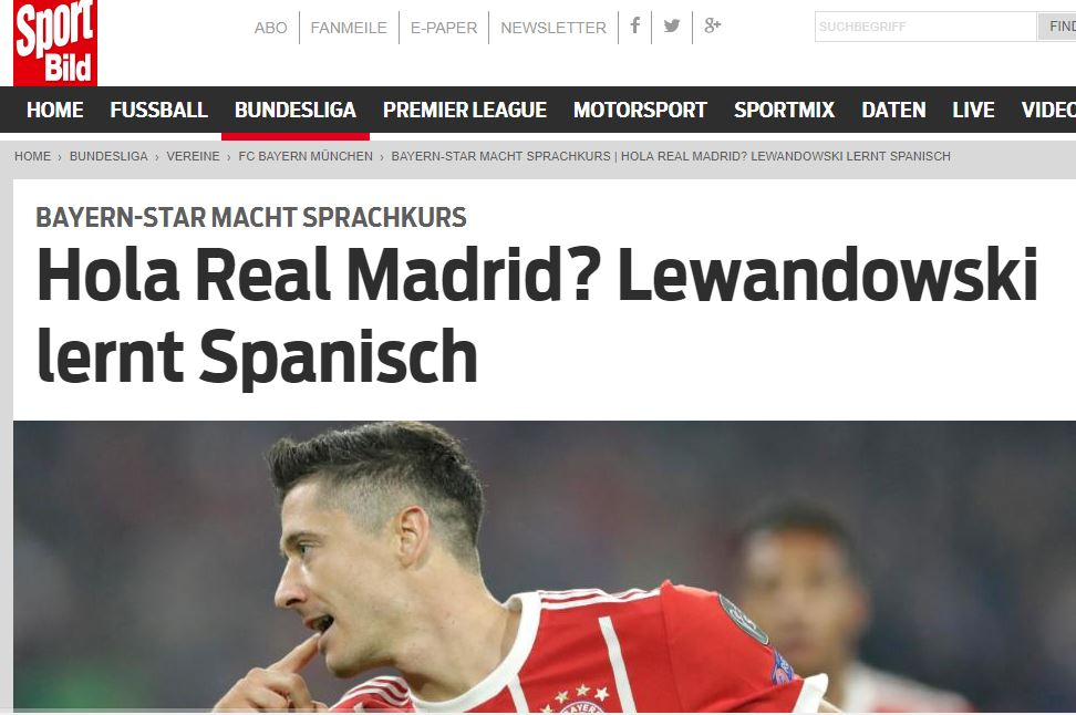 Recorte de Bild noticia Lewandowski