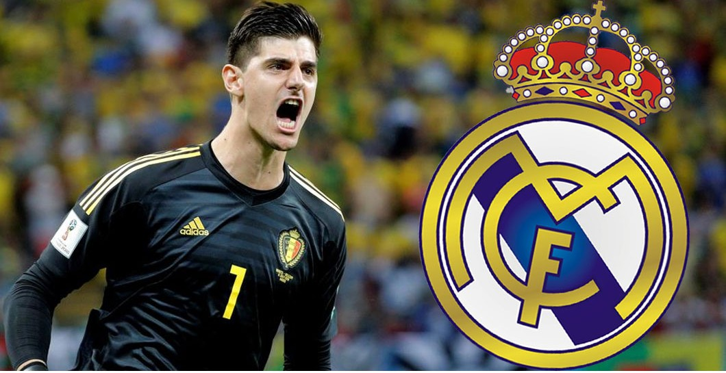 Courtois y escudo del Madrid