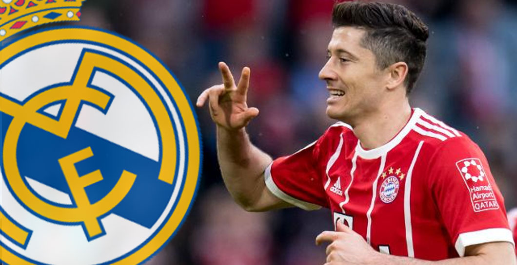 Robert Lewandowski y escudo del Real Madrid