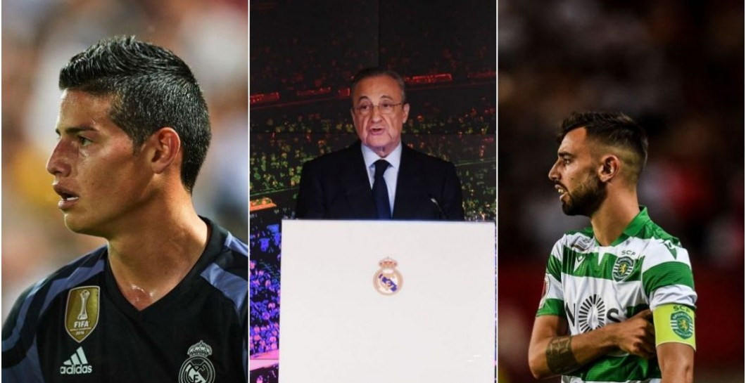 James, Florentino, y Bruno Fernandes