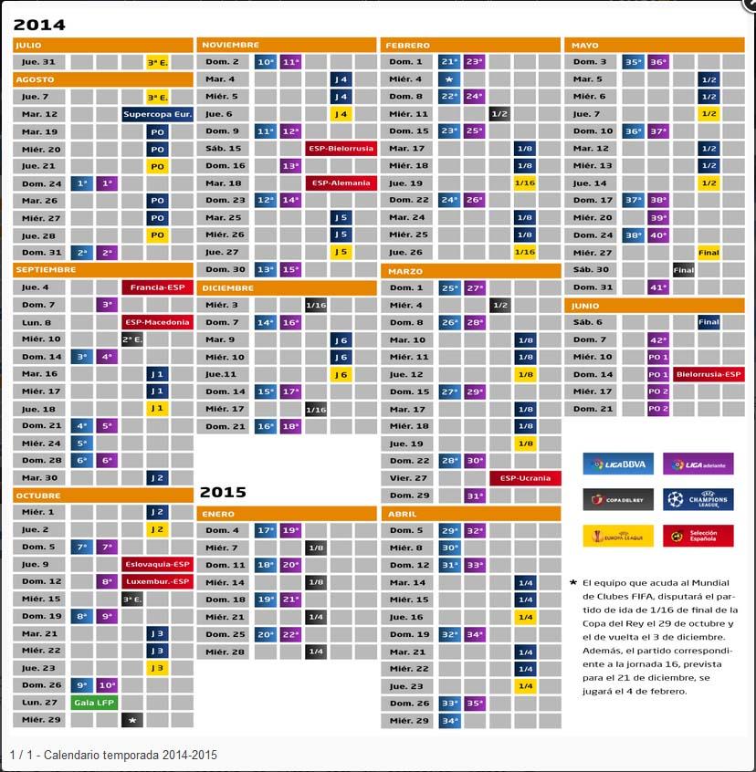 ����� ����� �������� ��� ������ ������ �� ������� ������ ����� 2014/15 ������ . Calendario_Liga_2014